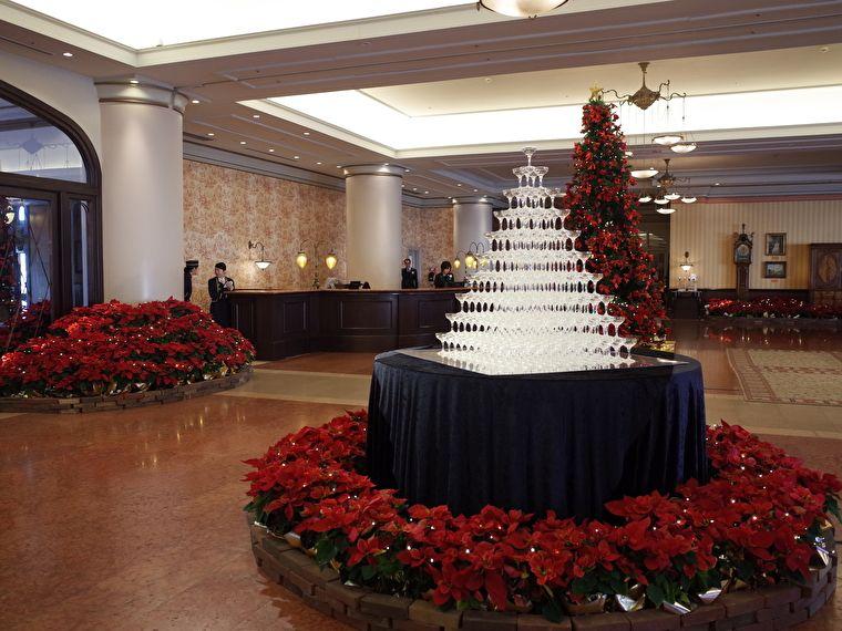 ホテルヨーロッパ シャンパンツリーとクリスマスツリー